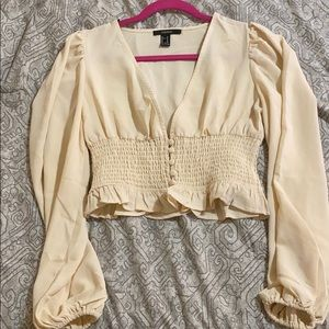 Cream cropped blouse